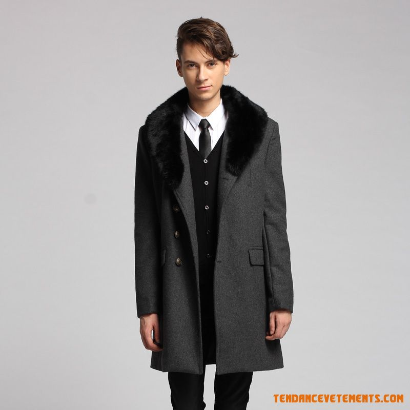 manteau homme noir parka col laine a la mode longue pas cher. Black Bedroom Furniture Sets. Home Design Ideas