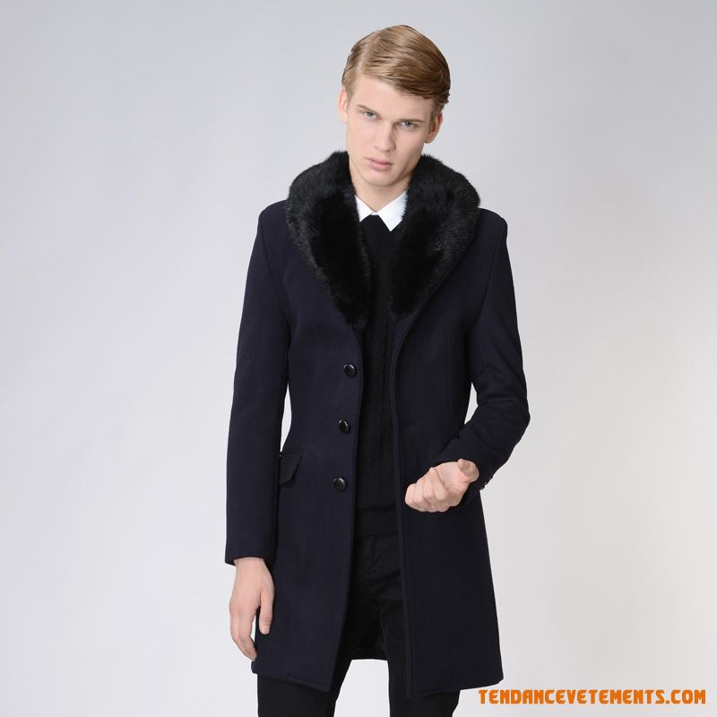 manteau homme noir parka longue col fourrure pas cher. Black Bedroom Furniture Sets. Home Design Ideas