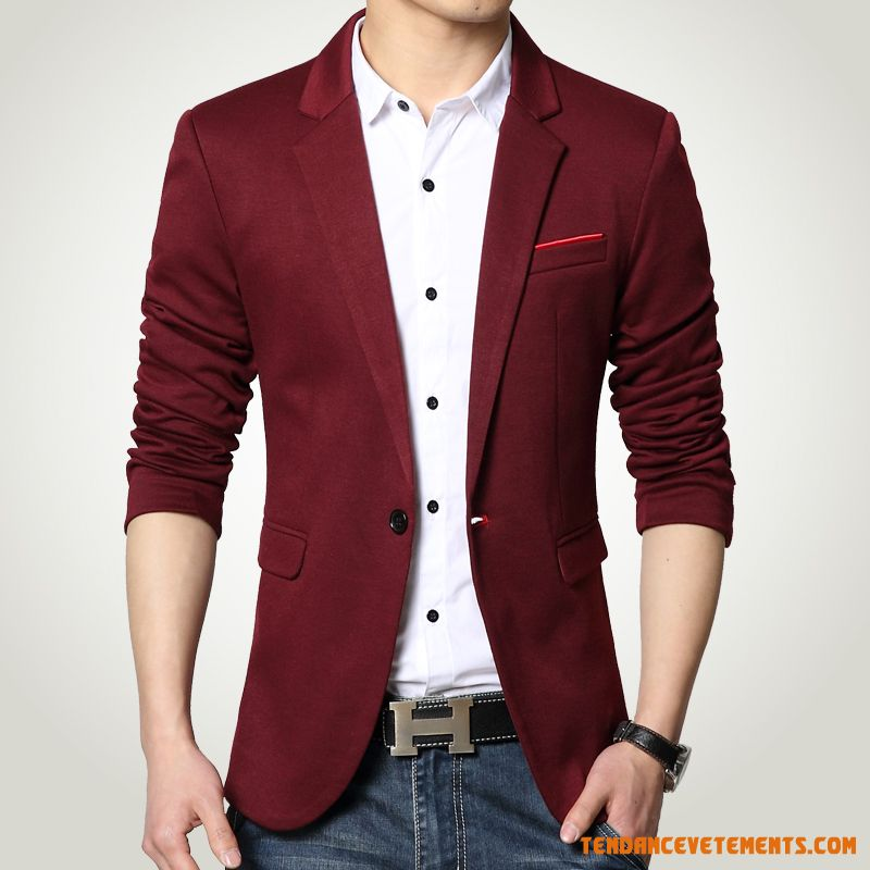 Blazer Grande Taille Petit Costume En Maille Homme Rouge Chocolat