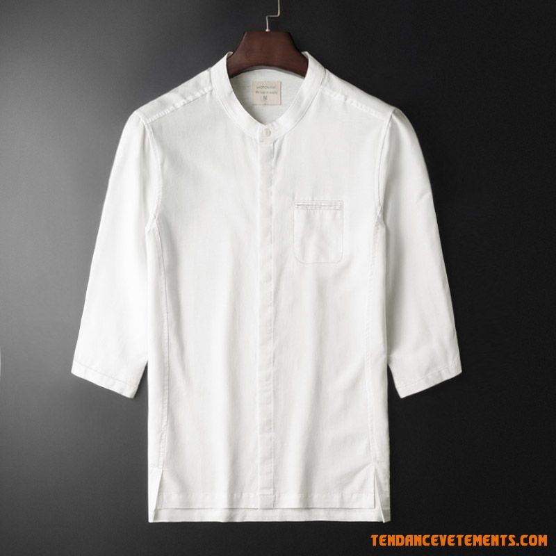 Chemise Manche Style Chinois Blanc Coton Et Lin Col Mandarin Homme Bisque Soldes
