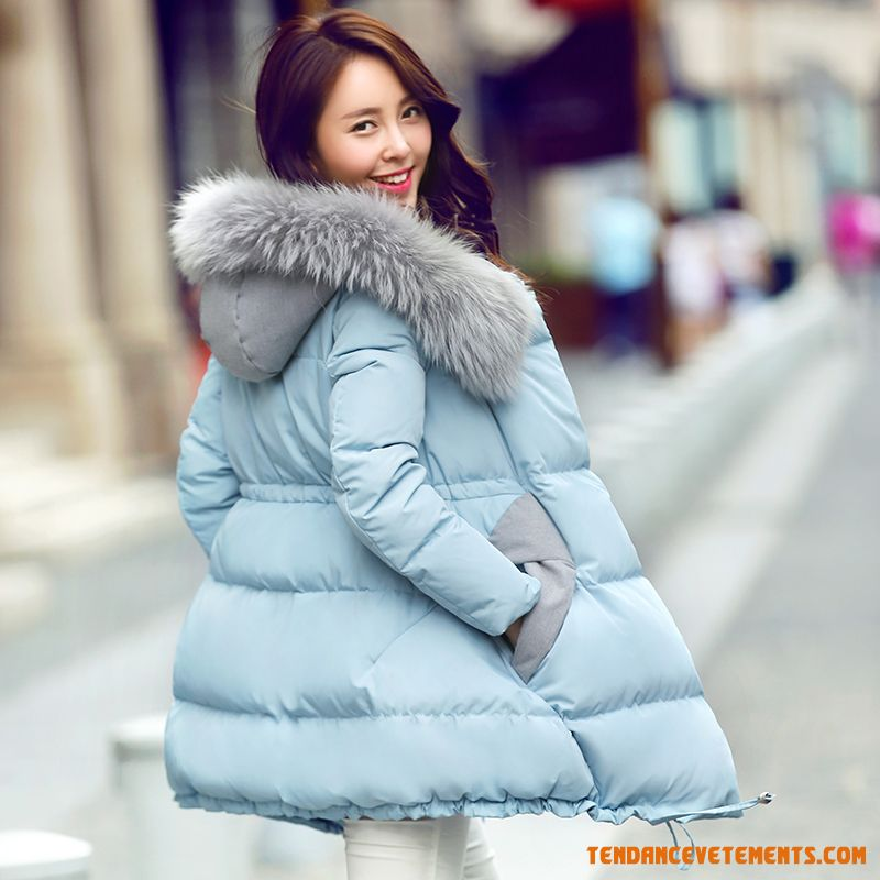 doudoune femme fourrure parka hiver mi longue bleu pas cher mode. Black Bedroom Furniture Sets. Home Design Ideas