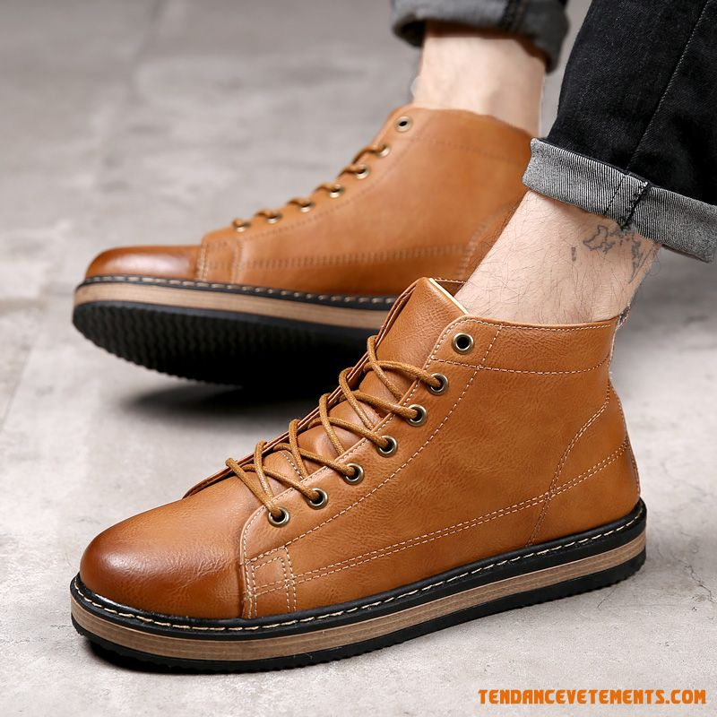 Hiver Angleterre Tendance Bottes Courtes Hautes Homme Seagreen