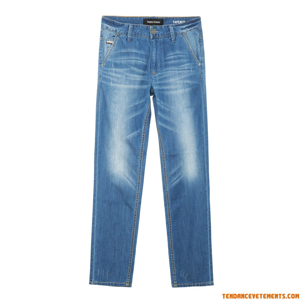 Jean Homme Bleu Clair Tapered Taille Moyenne Mode Pas Cher