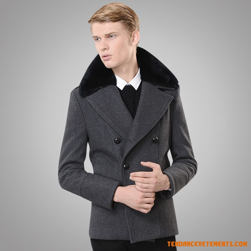 manteau homme gris fonc parka col fourrure slim pas cher. Black Bedroom Furniture Sets. Home Design Ideas