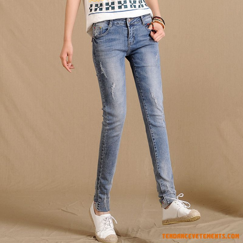 Middle Waisted Femme Maigre Tendance Jeans Extensible Sandybrown France