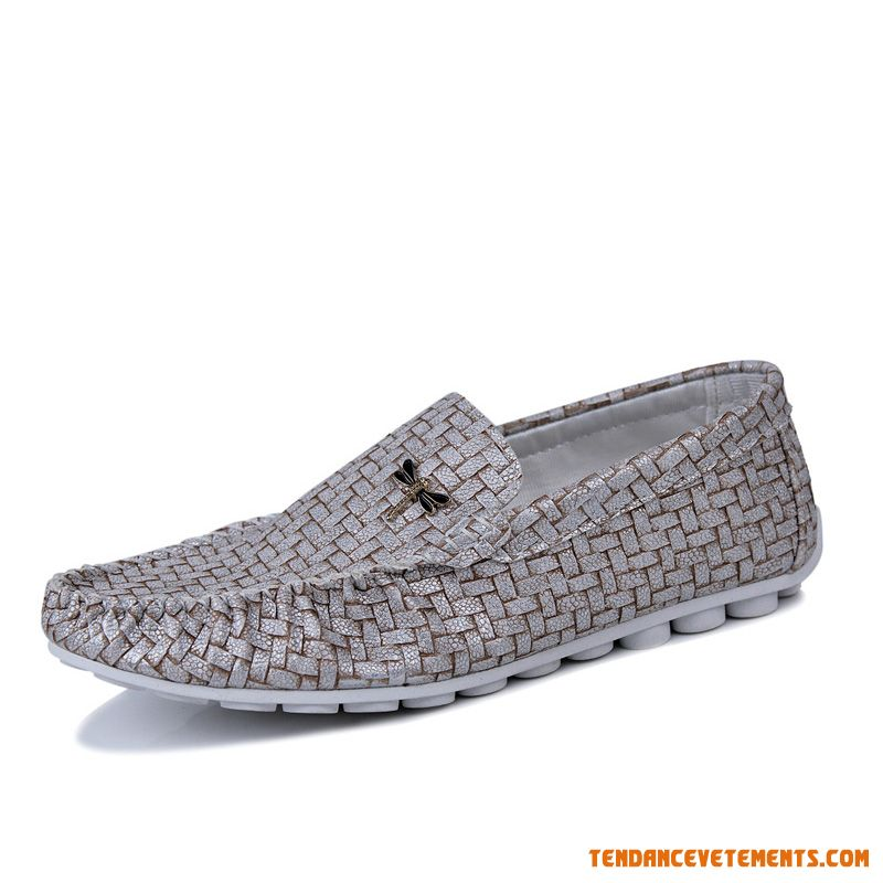 Mocassin Homme Jaune Gris Clair Conduire Fashion Vogue