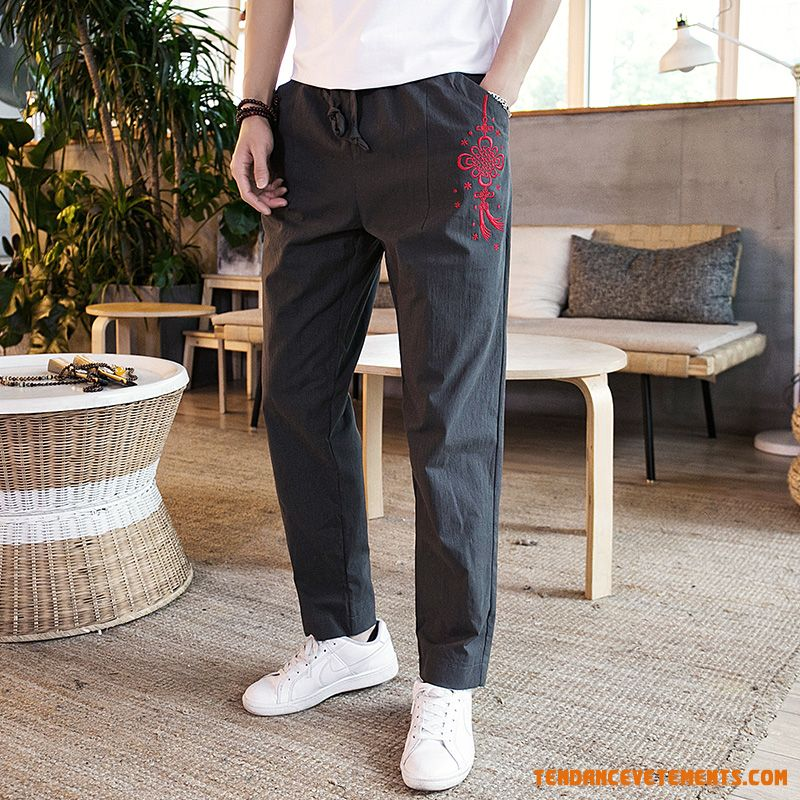 Pantalon Grande Taille Baggy Broderie L'automne Style Chinois Homme Saphir
