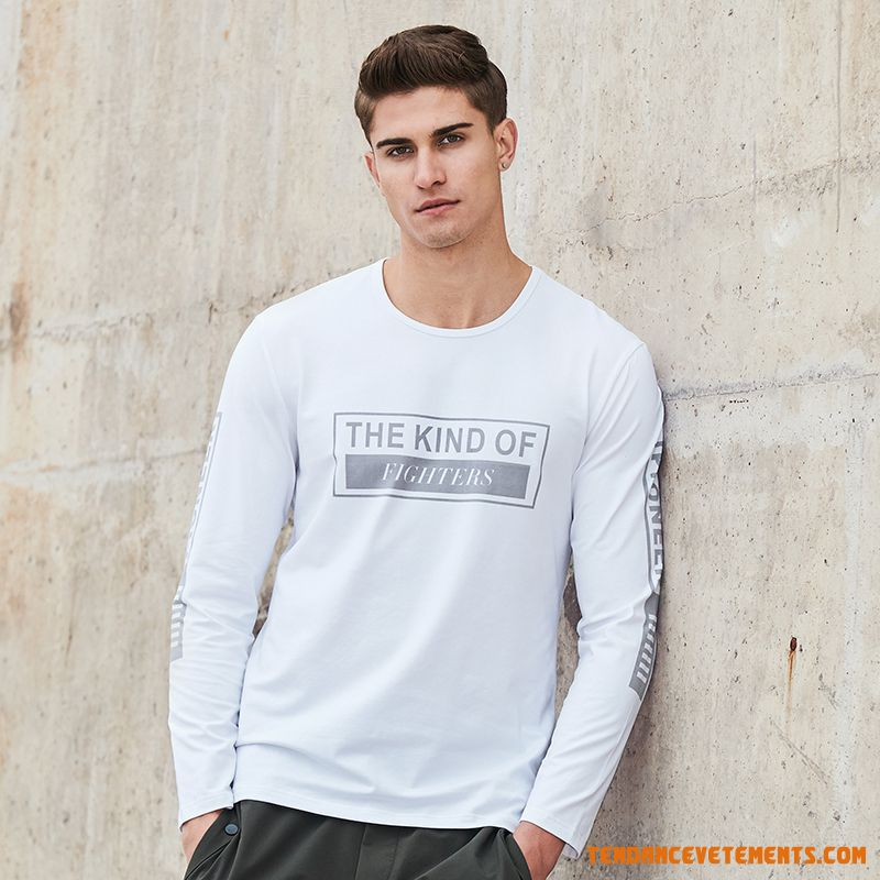 Slim Pullovers Jeunesse Homme Col Rond Printemps T-shirt Marine