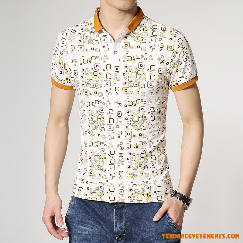 T-shirt Homme Blanc Jaune Col Polo Tendance Pas Cher Chic